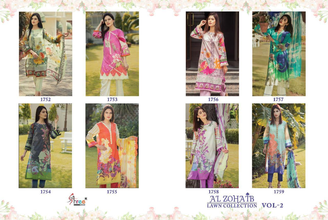 Shree Fabs Al Zohaib Lawn Collection Vol 2 Cotton Pakistani Suit Catalog