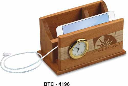Wooden Desk Organizer with Watch