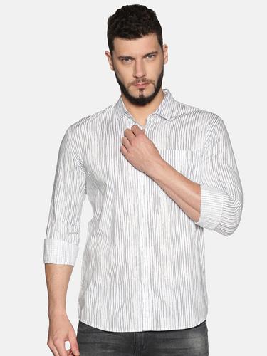 UrGear Mens Slim Fit Cotton Striped Shirt