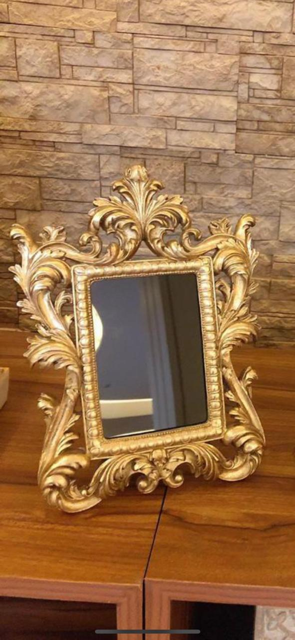 Gold Colour Resin Photo Frame With Curly Designs