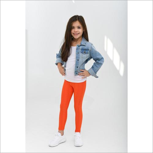 Girls Orange Color Leggings