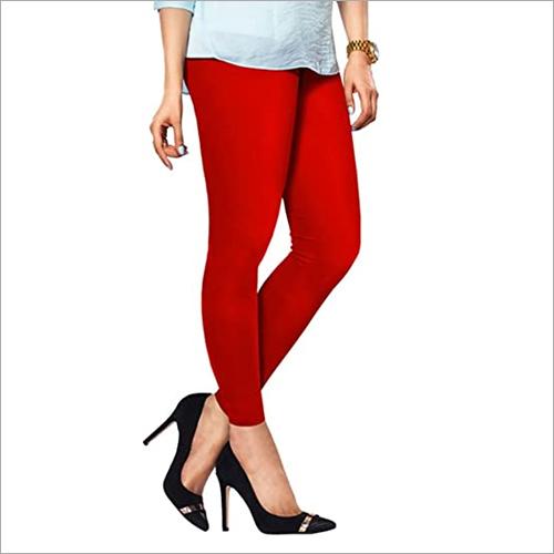 Ladies Red Color Cotton Leggings