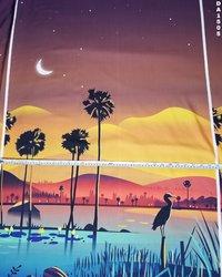 Striking Digital Print Design on Rayon Slub Fabric