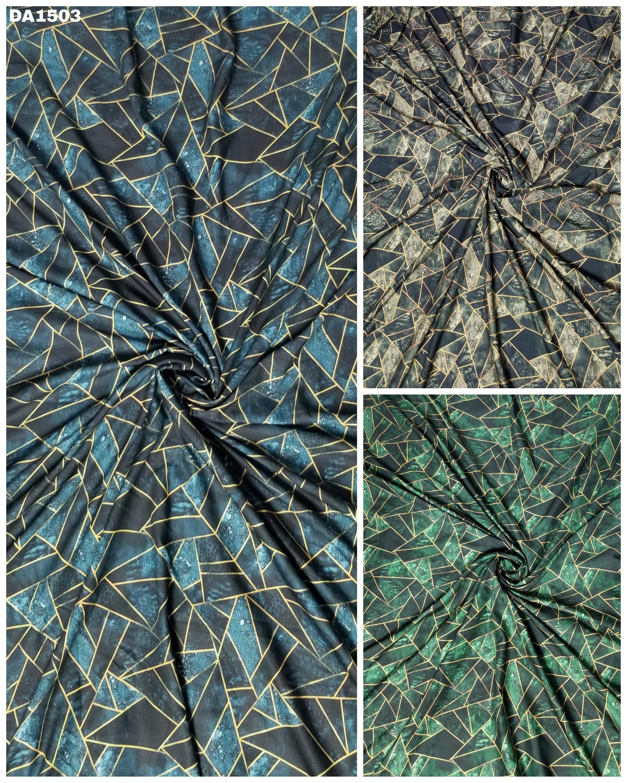 Asymmetrical Digital Print Design On Rayon Slub Fabric