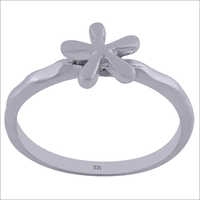 Flower On Plain 925 Sterling Solid Silver Handmade Ring