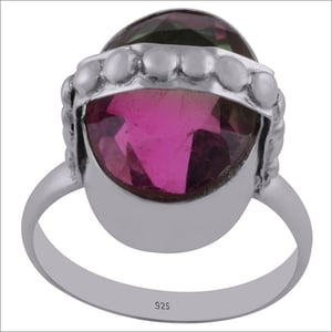 Tourmaline Pink Mystic Gemstone 925 Sterling Solid Silver Oval Cut Stone Handmade Ring