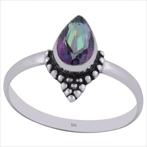 Mystic Topaz Gemstone 925 Sterling Solid Silver Pear Cut Stone Handmade Ring