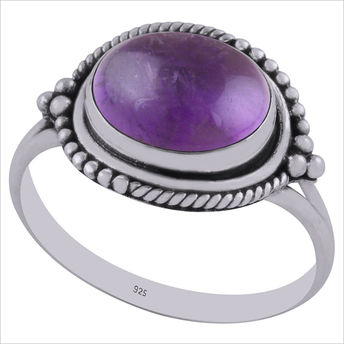 Amethyst Natural Gemstone 925 Sterling Solid Silver Oval Cabochon Handmade Ring