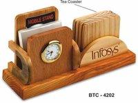 3-in-1 Wooden Desk Organizer with clock