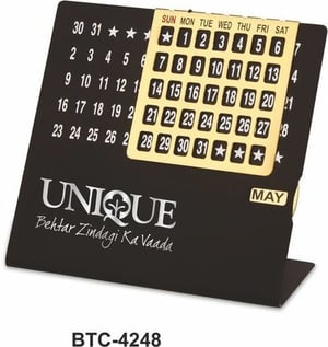 Black & Golden Perpetual Calendar With Month
