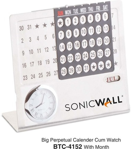 Silver Perpetual Calendar With Watch