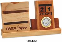 Wooden Perpetual Calendar With Clock