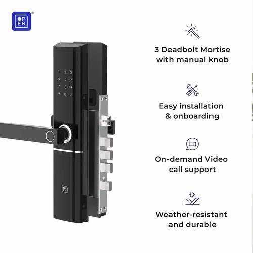Open Door Smart Door Lock Left Handle Black Colour