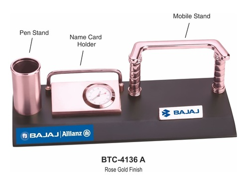 4-In-1 Desk Organizer With Rose Gold Finish