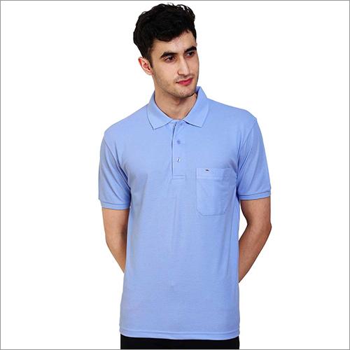 Mens Regular Fit Sky Colour Polo Neck Solid T-Shirt