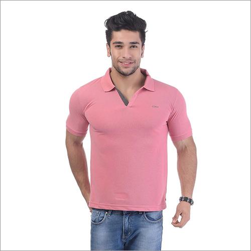 Mens Regular Fit Dry Rose Colour Collar Neck Solid T-Shirt
