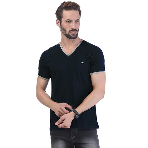 Mens Regular Fit Denim Colour V-Neck Solid T-Shirt