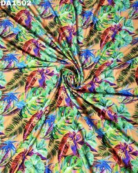 Colorful Digital Print Design on Rayon Slub Fabric