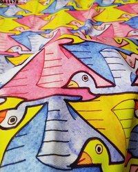 Bird Design Digital Prints on Twill Silk Fabric
