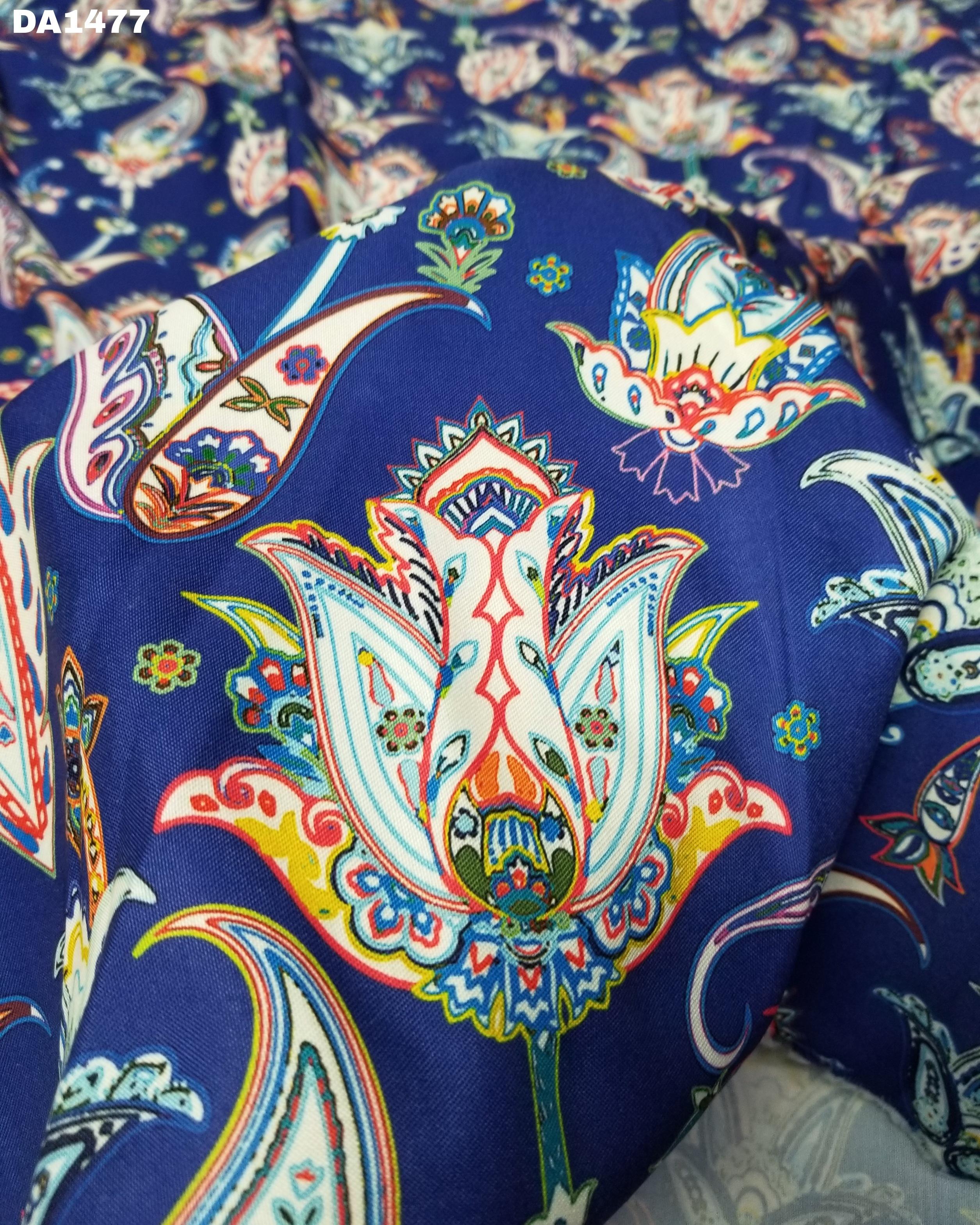 Latest Digital Print Design on Rayon Silk Fabric