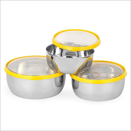 JSI 839 Stainless Steel Multi Color Clear Lid Bowl Set