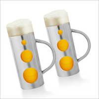 JSI 623 Steel And Glass Beer Mugs