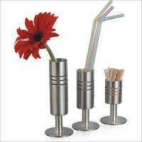 Steel Bud Vase, Straw And Toothpick Holder Set