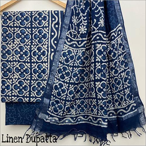 Ladies Designer Hand Block Print Linen Dupatta Suit