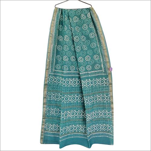 Ladies Hand Block Print Maheshwari Silk Saree