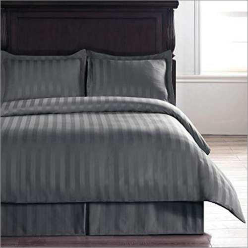 Dark Grey Satin Stripes Cotton Bedsheet