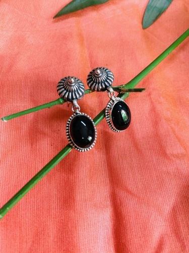 Sterling Silver Oxidized Black Onyx Earrings