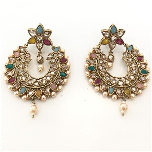 Ladies Polki Chand Bali Earring Set
