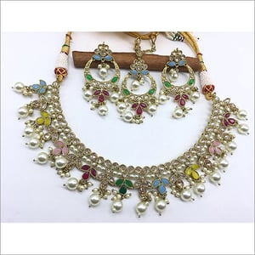 Ladies Silver Rhodium Polki Necklace Set