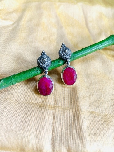 Sterling Silver Oxidized Designer Drop Earrings