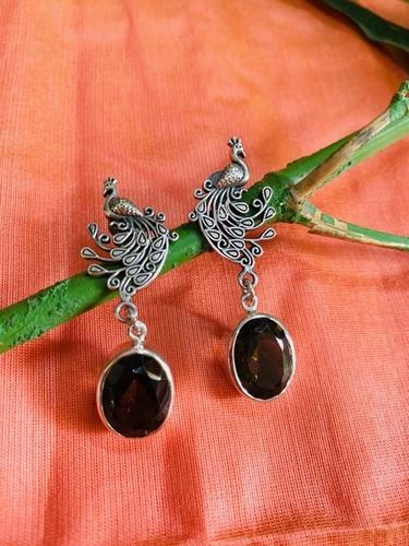 Smoky Topaz Designer Sterling Silver Earrings