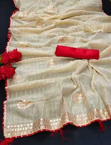 Off White Chanderi Cotton Saree