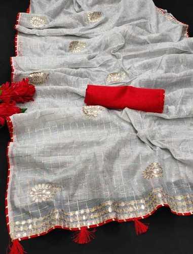 Grey Chanderi Cotton Saree
