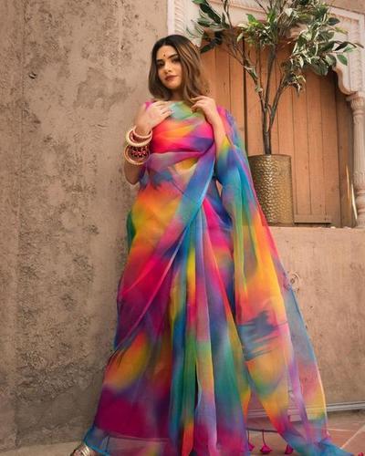 Multicolor Organza Saree
