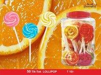 Rainbow lollipop candy