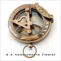 Antique Brass Brown Finish Mini Sundial Compass