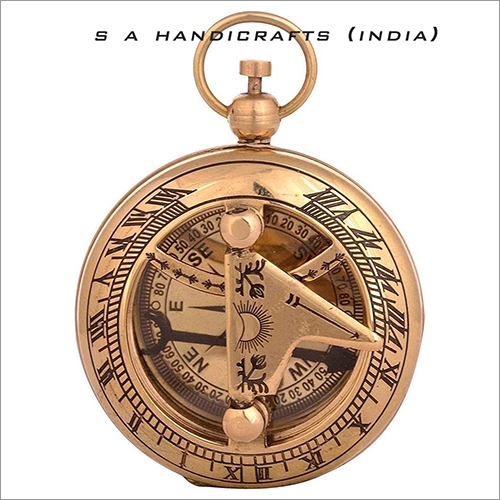 Brass Sundial Compass Polished Push Button Lid Collectible Gift