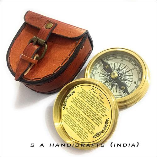 Brass Compass - Marine Pocket Compass Engraved Robert Frost Poem