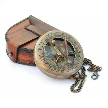 Antique Brass Sundial Compass With Leather Case