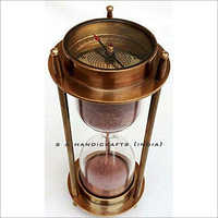 Brass Sand Timer Hourglass With Antique compass