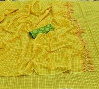 Yellow Heavy Quality Zari Viscose Saree