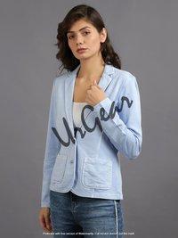 Women Sky Blue Solid Jacket