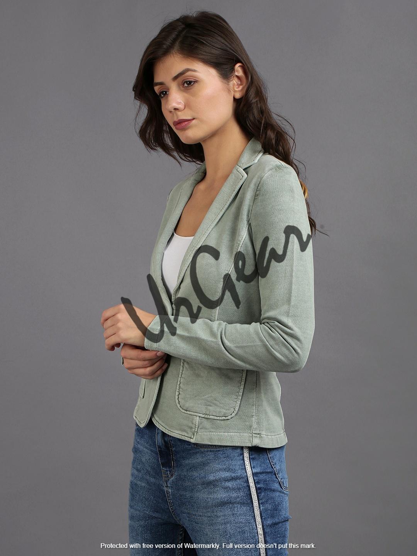 Women Green Solid Jacket