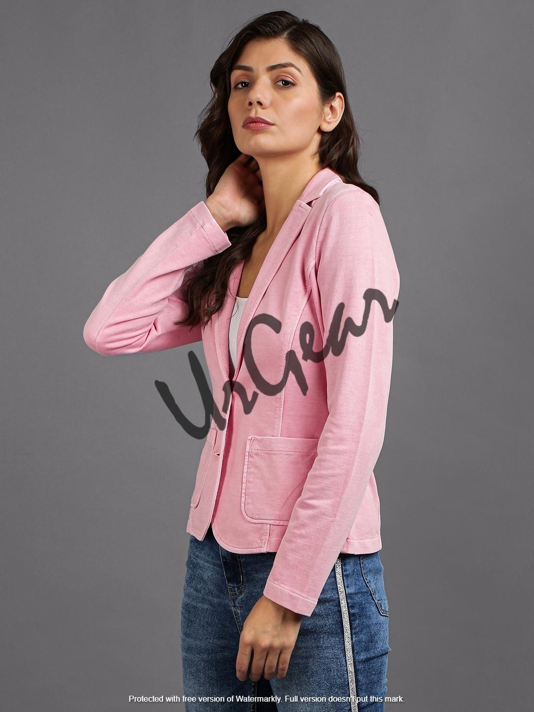 Women Pink Solid Jacket