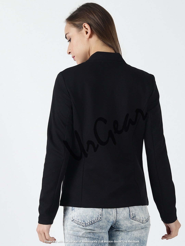 Women Solid Black Jacket