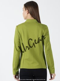 Women Solid Green Jacket